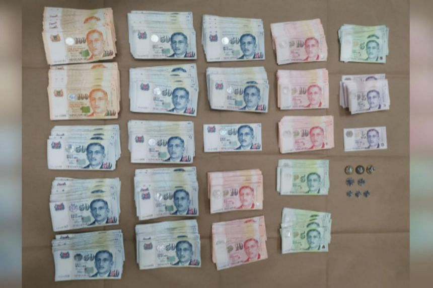 Cash that was recovered by the police following the arrests.