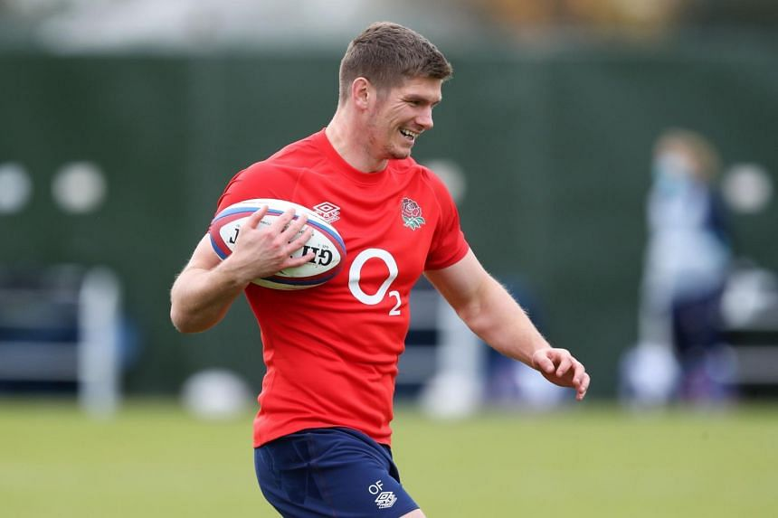 England's centre Owen Farrell attends a training session at The Lensbury hotel in south-west London on Nov 11, 2020.