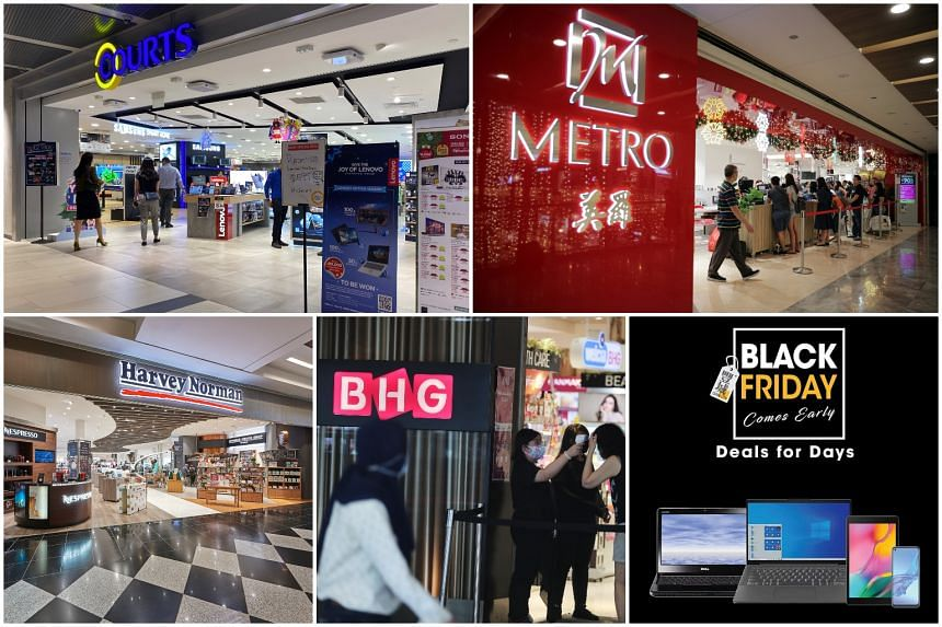 SPH partnered retailers (clockwise from top left) Courts, Metro, Gain City, BHG and Harvey Norman for this year's Black Friday event.