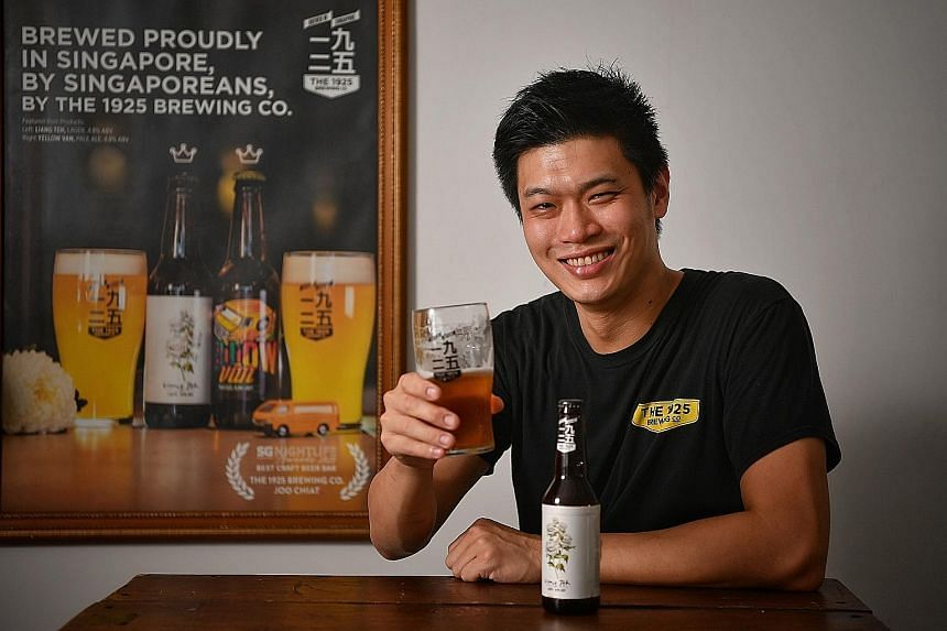 Mr Yeo Eng Kuang (left) and his brother Ivan Yeo founded The 1925 Brewing Co in 2013 with their uncle Yeo King Joey. Their facility in Mandai is now able to produce up to 24,000 bottles of beer a month.