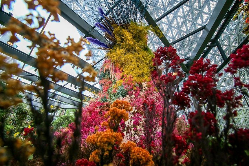 The Gardens by the Bay's Floral Fantasy attraction features a new draw called Joy, a 5m-tall floral sculpture made of dried and preserved flowers