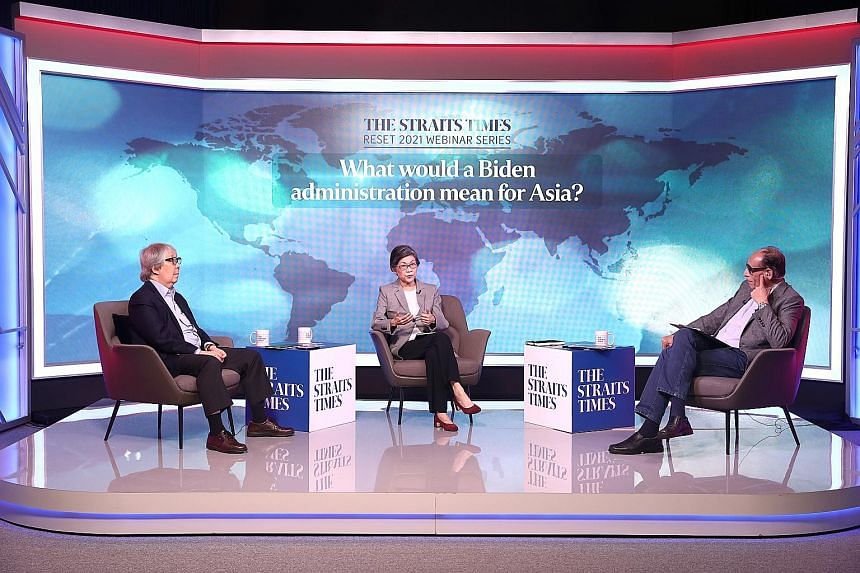 (From left) Ambassadors-at-large and former ambassadors to the United States Tommy Koh and Chan Heng Chee with panel moderator Vikram Khanna, Straits Times associate editor, at The Straits Times' inaugural Geopolitical Reset 2021 webinar on Thursday.