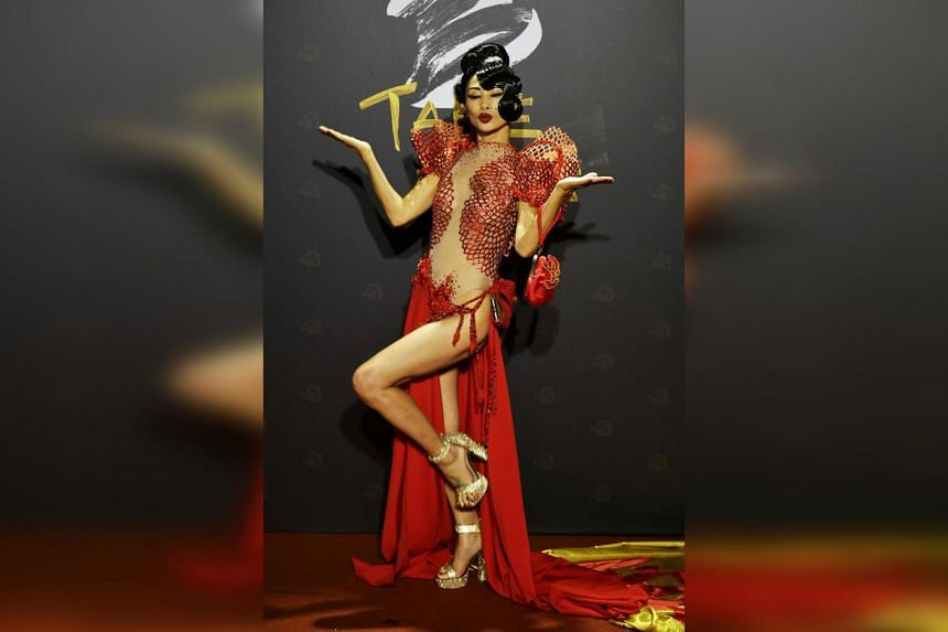 Chinese-American actress Bai Ling arrives on the red carpet at the 57th Golden Horse film awards in Taipei, on Nov 21, 2020.