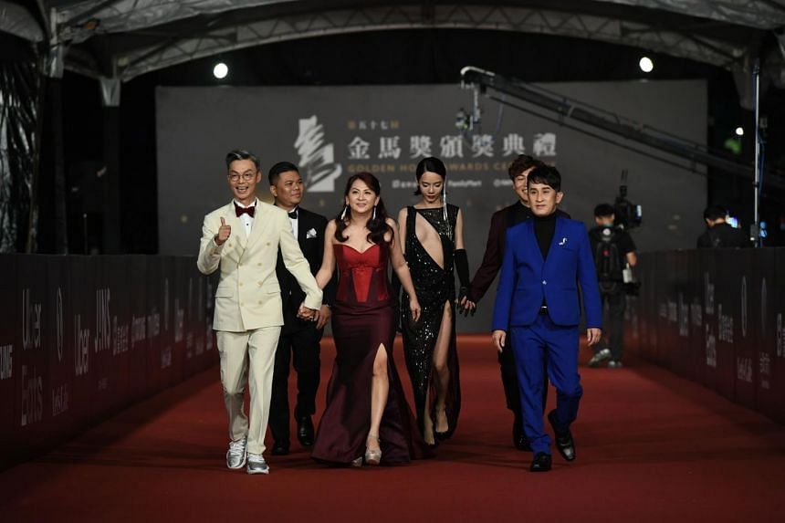 (First row, from left) Mark Lee and his wife, Catherine Ng; Number 1's makeup and costume designer Raymond Kuek. (Second row, from left) Director Ong Kuo Sin, actress Kiwebaby Chang, and the film's writer and supporting actor Jaspers Lai.