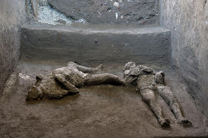 Remains of two men are discovered in a dig carried out in Pompeii, on Nov 18, 2020.