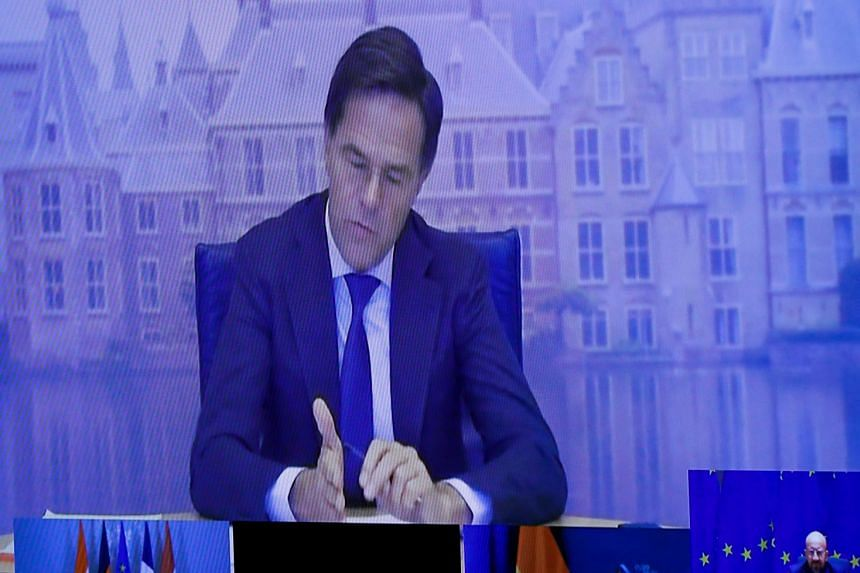 Mark Rutte speaks during a video-conference call with other European leaders on the fight against terrorism, Nov 10, 2020.