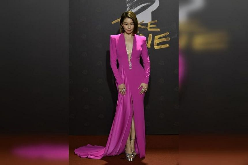 Taiwanese actress Vivian Hsu arrives on the red carpet at the 57th Golden Horse film awards in Taipei, on Nov 21, 2020.