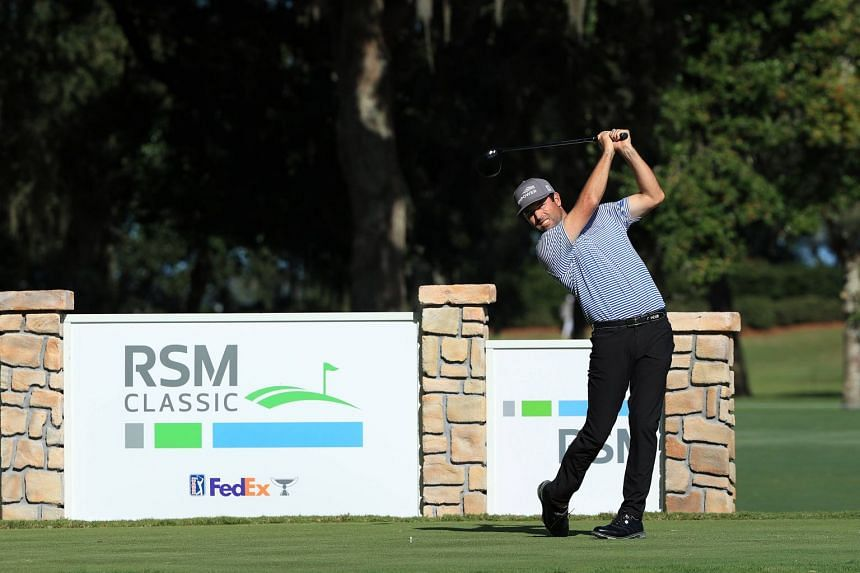 Streb plays his shot from the 18th tee during the second round of the RSM Classic.