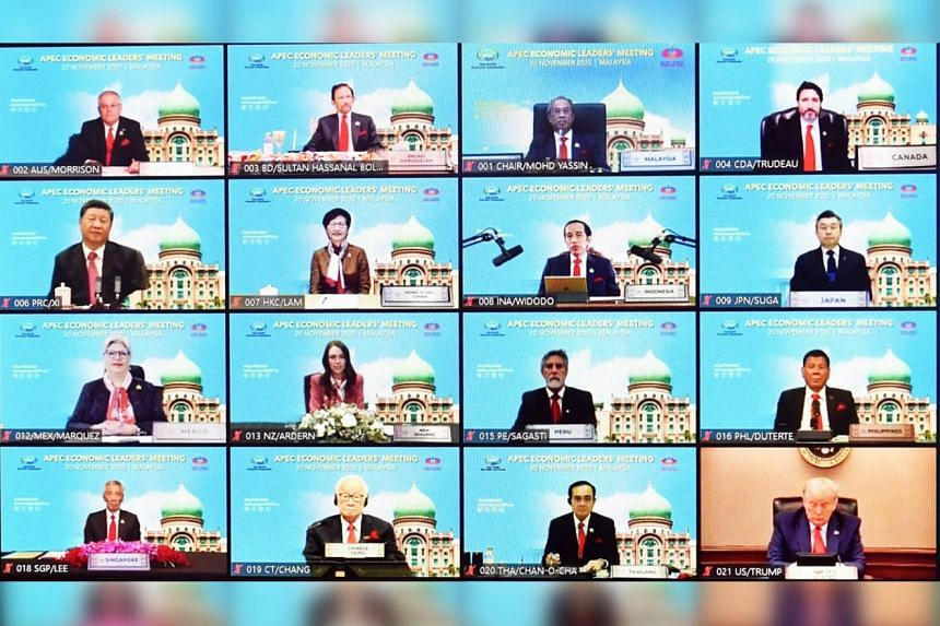 Apec leaders are seen via video links during the start of online Asia-Pacific Economic Cooperation leaders' summit in Bangkok, Thailand.