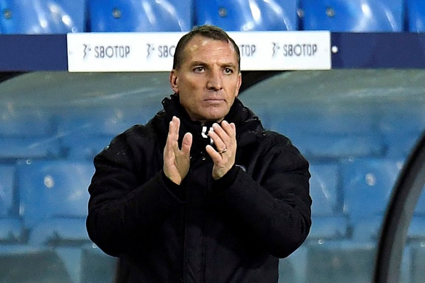 Leicester City manager Brendan Rodgers during the match in Leeds, Britain, on Nov 2, 2020.