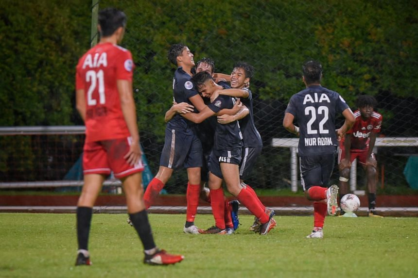 Young Lions players celebrate after scoring a last minute goal right before full-time at Bishan Stadium on Nov 21, 2020.