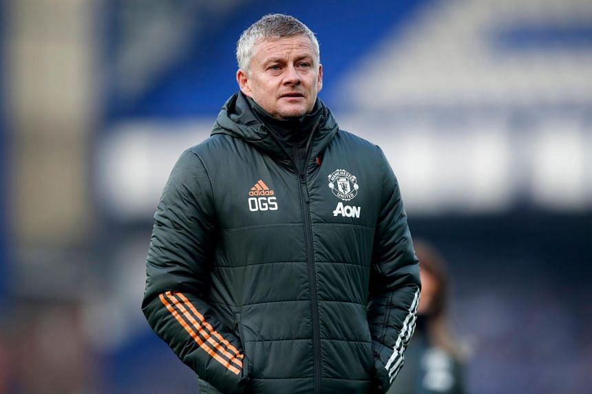 Manchester United's Norwegian manager Ole Gunnar Solskjaer during the EPL football match between Everton and Manchester United on Nov 7, 2020.