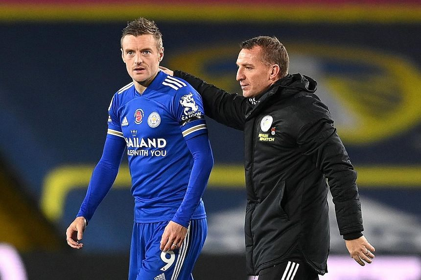 Brendan Rodgers (with Jamie Vardy at Elland Road on Nov 2) is a former evangelist for possession football, with his side scoring five goals at the Etihad and four at Elland Road with 28 and 32 per cent of the ball respectively. Vardy, especially, rev