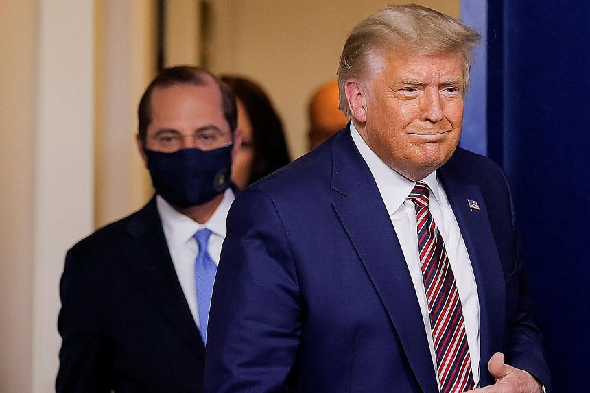 US President Donald Trump arriving at a briefing at the White House on Friday. Mr Trump has been stung by court defeats as he seeks to challenge the Nov 3 election result, based on unsubstantiated claims of voter fraud.