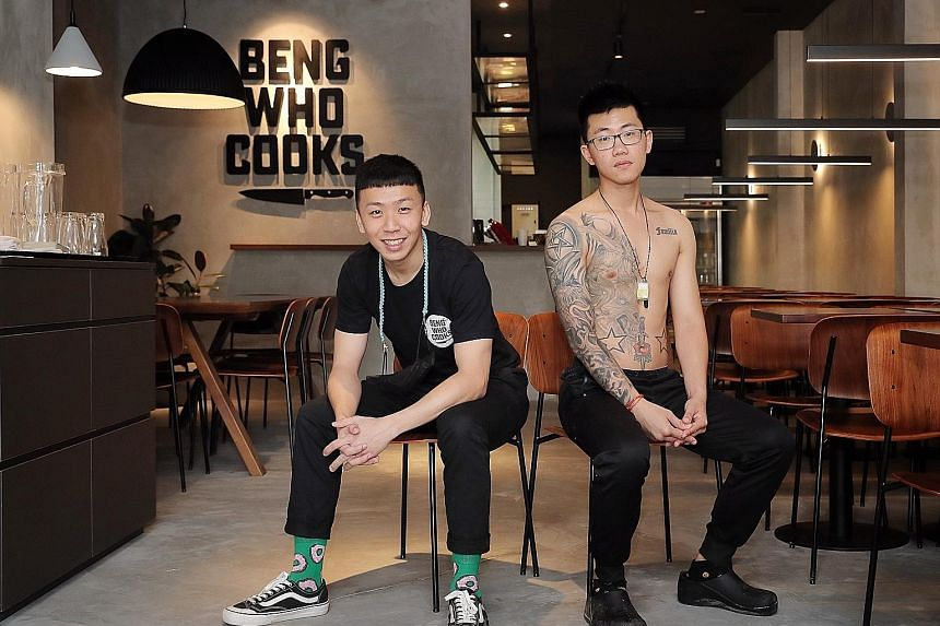 Hung Zhen Long (left) and Jason Chua in their new restaurant, Beng Who Cooks, in Neil Road. They previously ran a stall, also called Beng Who Cooks, at Hong Lim Complex, and have learnt to work with each other. Having been friends for more than a dec