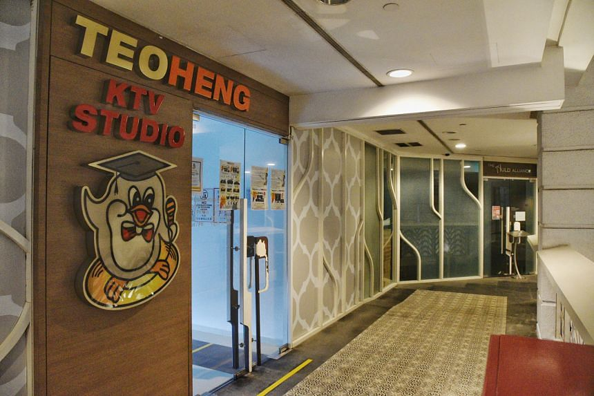 Karaoke outlets, such as Cash Studio in Clarke Quay Central (above, left) and Teo Heng KTV Studio in Rendezvous Hotel, have remained closed as part of Covid-19 measures. The pilot to reopen selected establishments will widen to include certain karaok