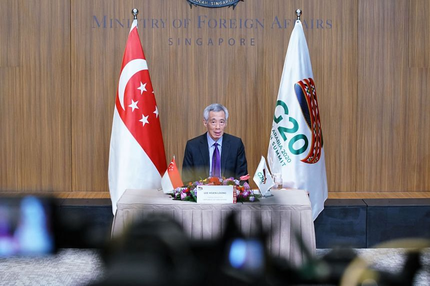 Prime Minister Lee Hsien Loong speaking at the virtual G-20 summit yesterday. PHOTO: MINISTRY OF COMMUNICATIONS AND INFORMATION