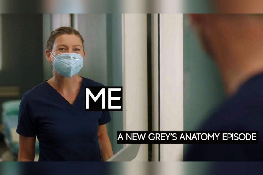 In Grey's Anatomy, Meredith suddenly emerges from a dream, exhausted and in full personal protective equipment.