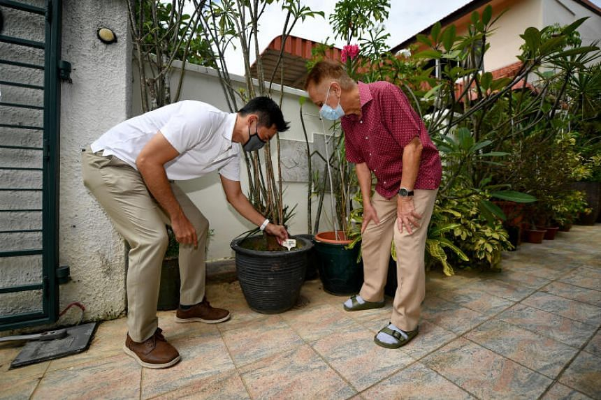 Minister of State for Sustainability and the Environment Desmond Tan placing a wooden plant pot marker in the house of Mr Cedric Pereira at Jalan Chempaka Puteh on Nov 22, 2020.