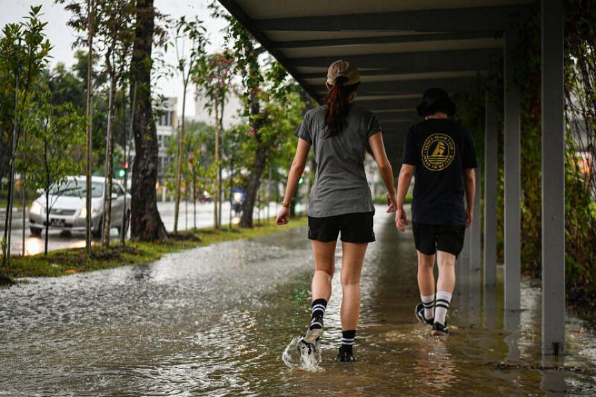 Ponding at sheltered walkway along Tampines Central 3 on Nov 22, 2020.