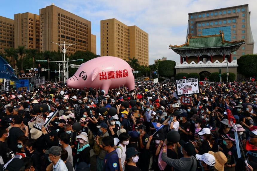People protesting the import of US pork containing ractopamine, in Taipei, Taiwan, on Nov 22, 2020.