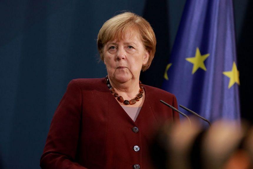Angela Merkel speaks during a press briefing in Berlin after the G-20 summit.