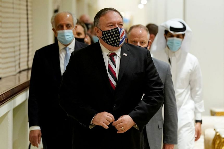 Pompeo arrives for a meeting with the Taleban's peace negotiation team, in Qatar, Nov 21, 2020.