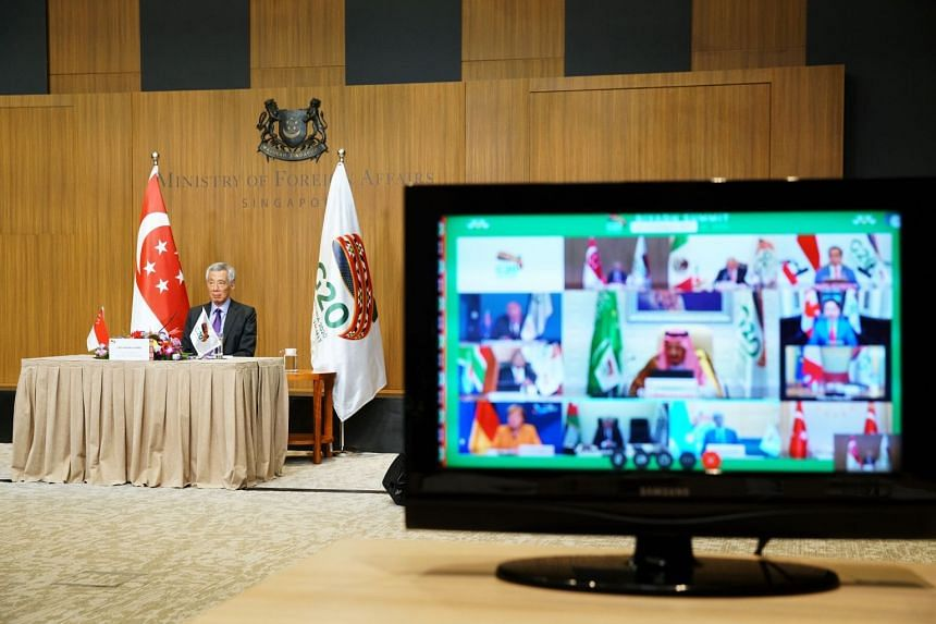 Prime Minister Lee Hsien Loong at the virtual G-20 Riyadh Summit on Nov 21, 2020.