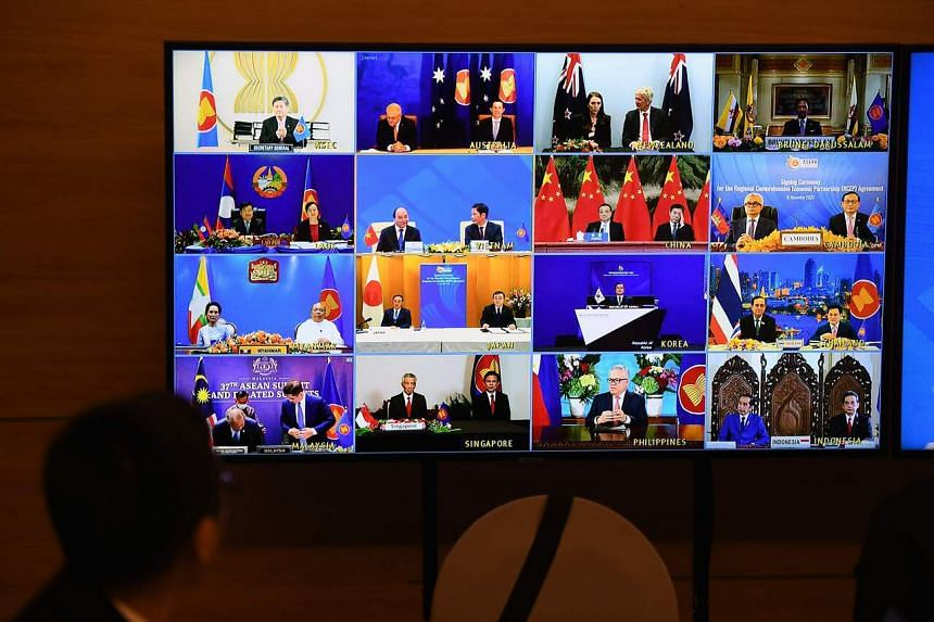 Representatives of the signatory countries are seen during the signing ceremony for the RCEP, during the Asean Summit on Nov 15, 2020.