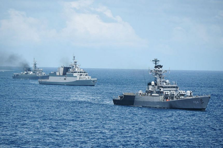 The Republic of Singapore Navy, Indian Navy and Royal Thai Navy conducting manoeuvring drills during Sitmex 2020.