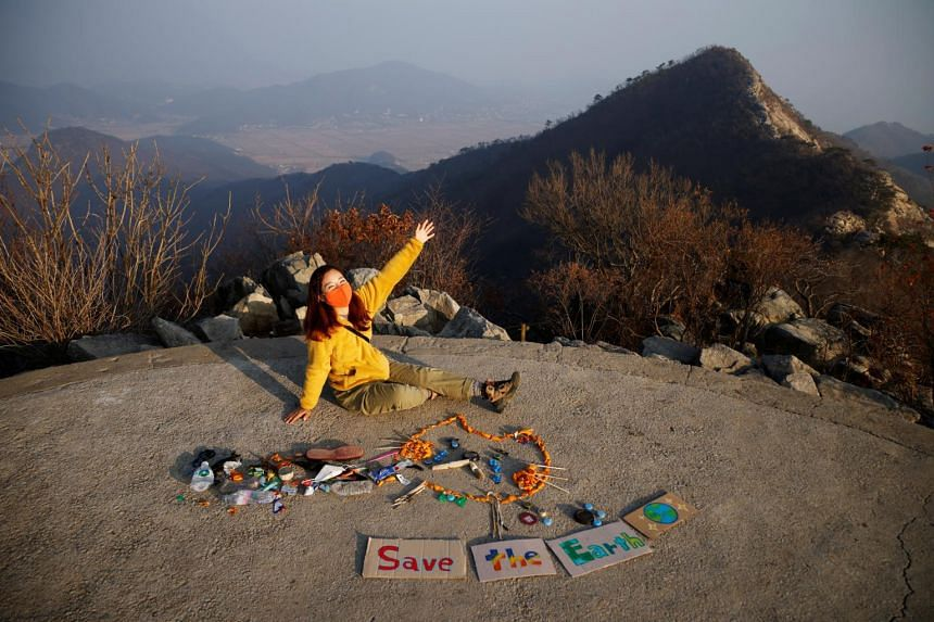 Hiker Kim Kang-eun is the founder of Clean Hikers, a group dedicated to picking up trash from mountain parks and turning it into art.