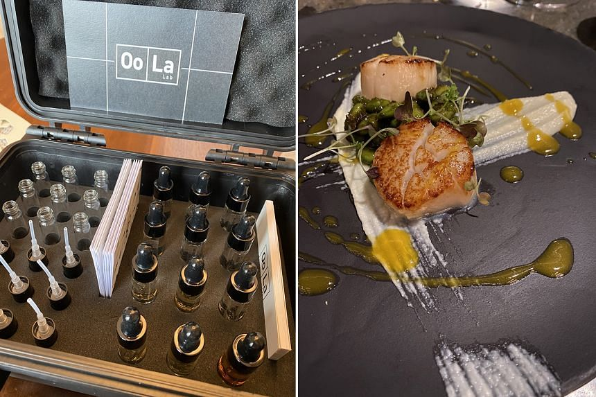 The Oo La Lab Perfume Mixology Briefcase (above left) comes with a selection of eau de parfum, empty vials and accoutrements to mix and match scents. Hokkaido scallops with cauliflower puree (above right) is on the Chef's Tasting Menu at steakhouse 6