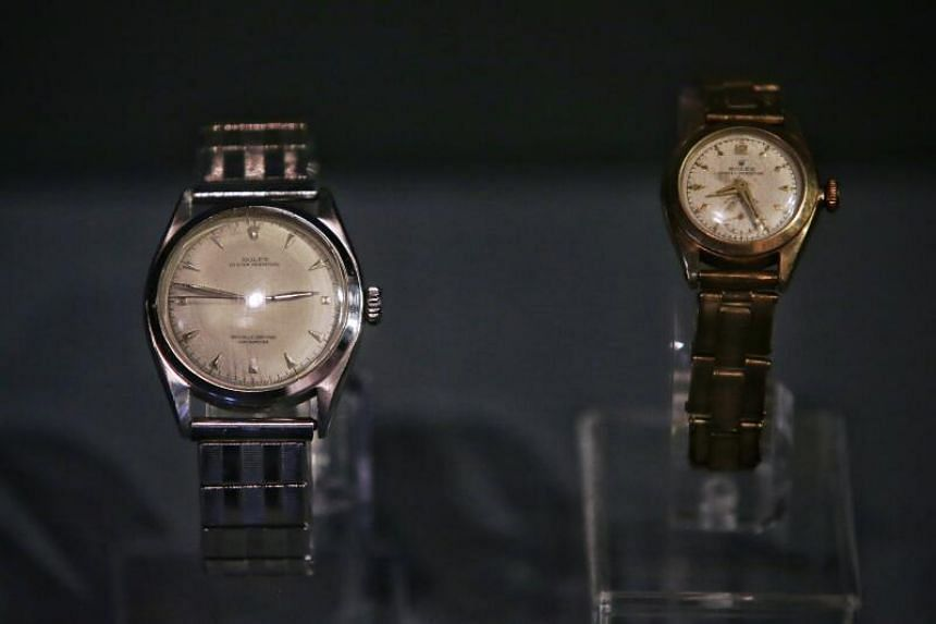 A pair of Rolex watches belonging to the late Mr Lee Kuan Yew and his wife on display at National Museum's Singapore Heritage Gallery on Nov 23, 2020.