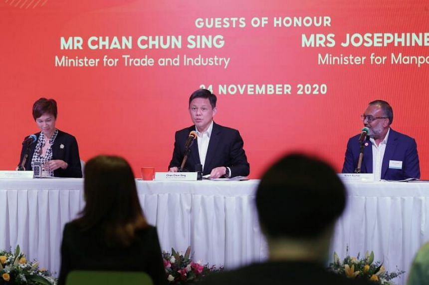 (From left) Minister for Manpower Minister Josephine Teo, Trade and Industry Minister Chan Chun Sing and IMDA Digital Industry & Talent Assistant Chief Executive Kiren Kumar during their visit to Sea and Shopee building on Nov 24, 2020.
