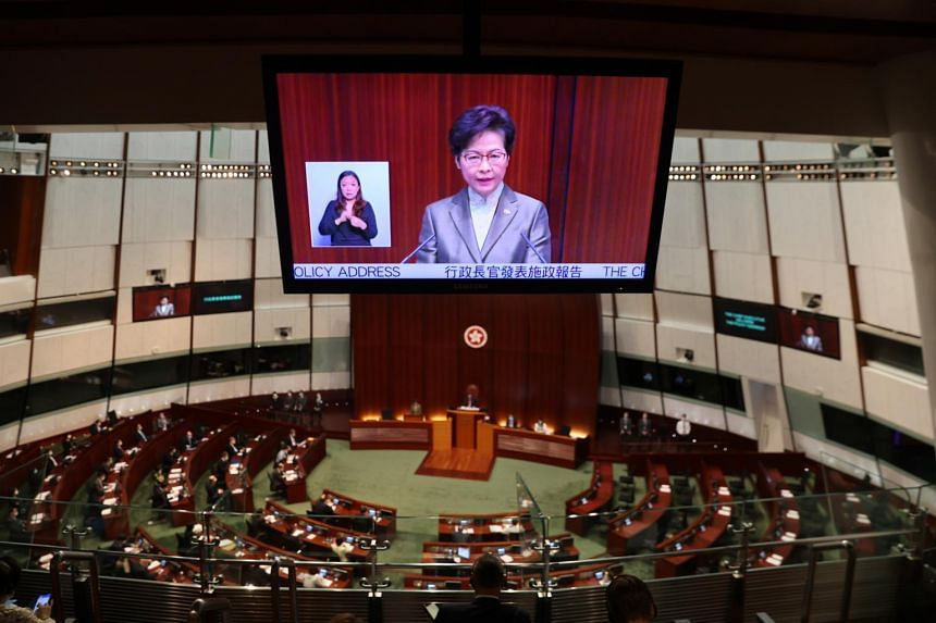 Hong Kong chief executive Carrie Lam delivering her annual policy address on Nov 25, 2020.