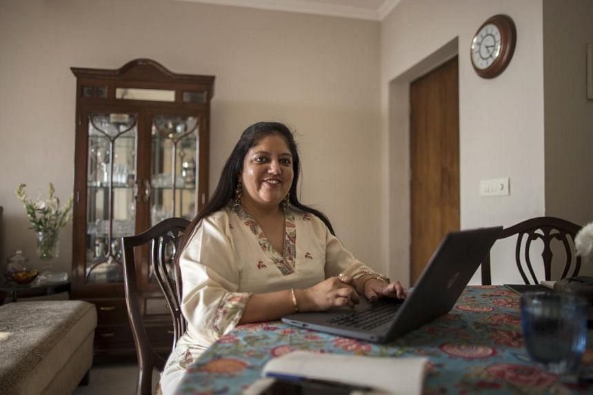 WNS Global Services operations manager Teena Likhari works from home in Gurgaon, India, on Nov 20, 2020.
