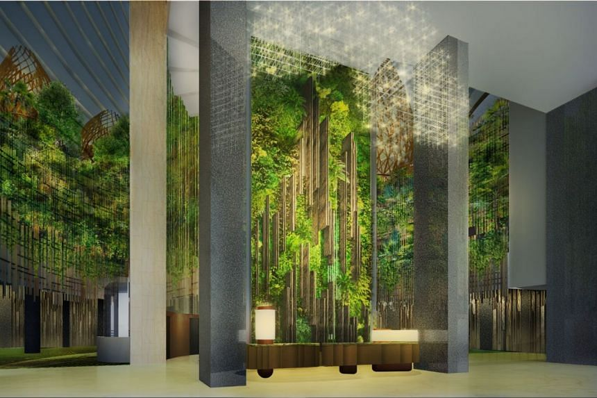 Be greeted by a stunning 13m wall of lush greenery, flanked by raised planters, creating a panoramic 180-degree view of a forest.