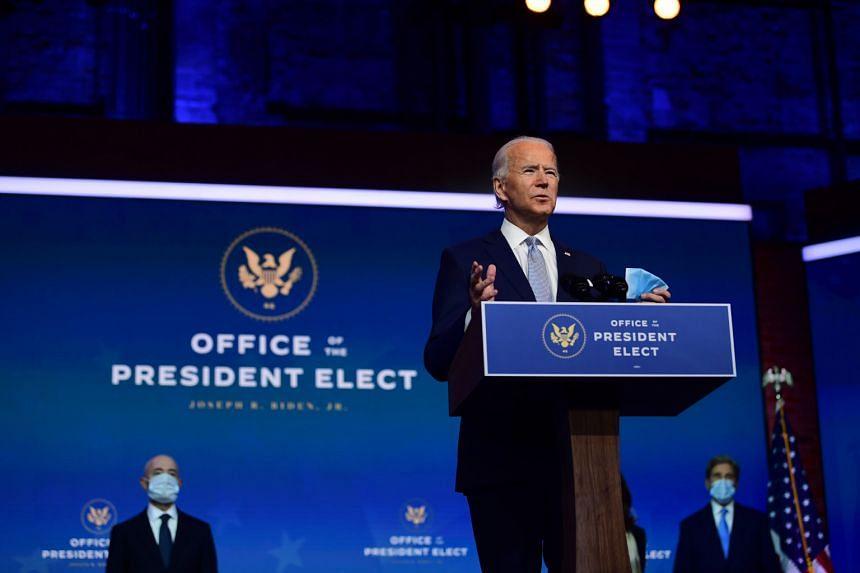 US President-elect Joe Biden introducing six top officials he wants in his cabinet, in Delaware, on Nov 24.