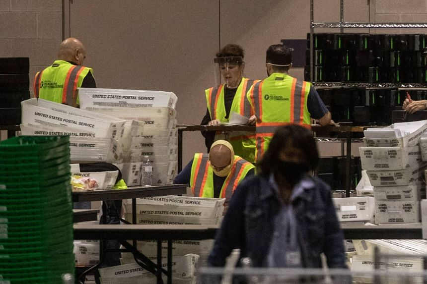 Election workers count ballots at the Philadelphia Convention Centre on Nov 6, 2020.