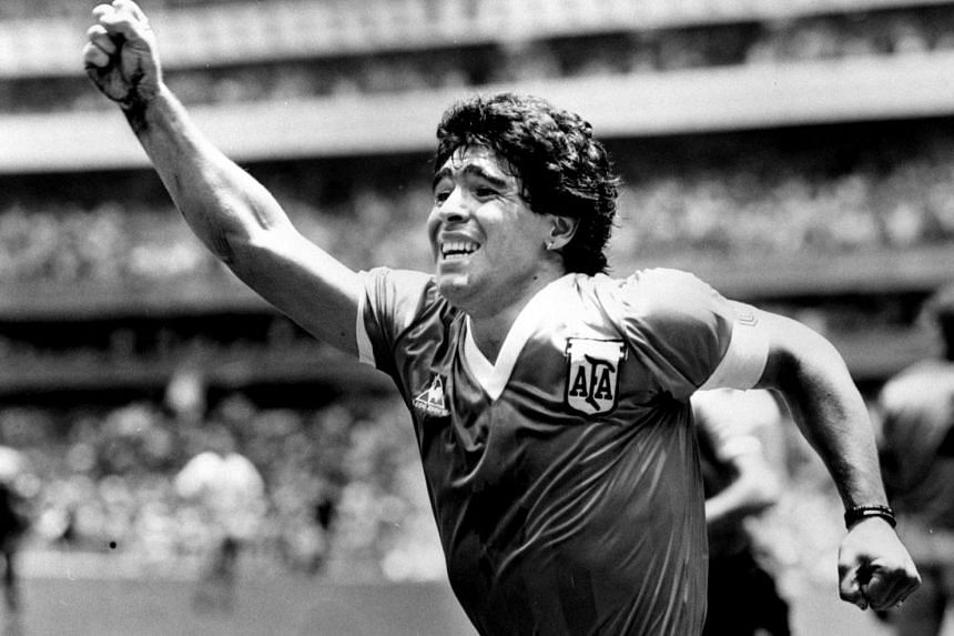 Diego Maradona celebrates after scoring a winning goal against England in the World Cup semi-final in Mexico, on June 22, 1986.