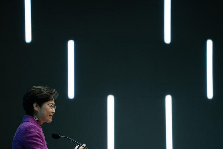 Carrie Lam, Hong Kong's chief executive, speaks during a news conference in Hong Kong, China, on Wednesday, Nov 25, 2020.