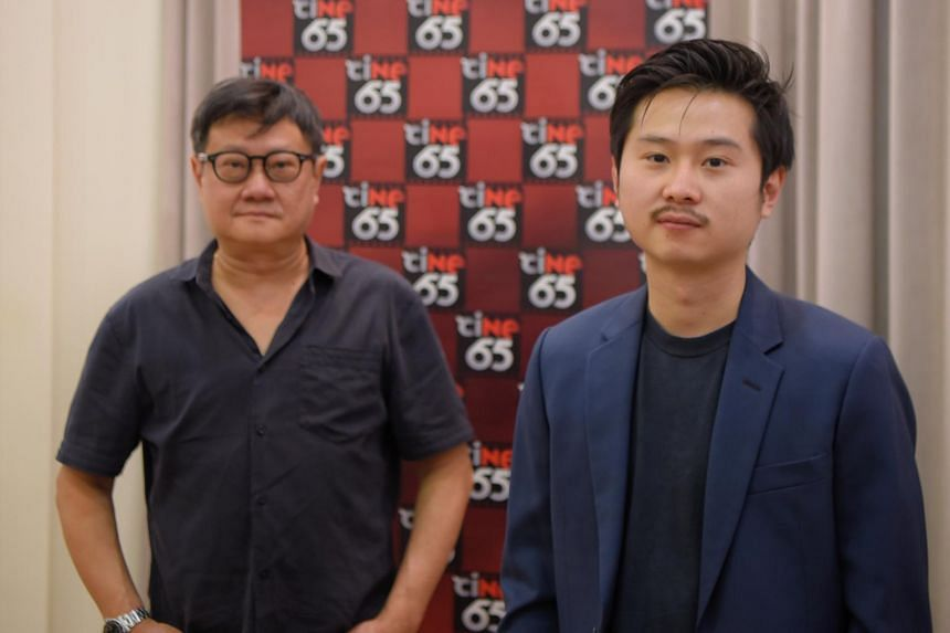 Local filmmakers Edward Khoo (right) and his father Eric Khoo after the launch of the sixth season of ciNE65 at the Singapore Discovery Centre on 27 Nov, 2020.