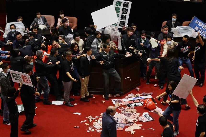 Pork intestines and other organs are seen after Taiwan lawmakers threw them at each other in Taipei, on Nov 27, 2020.
