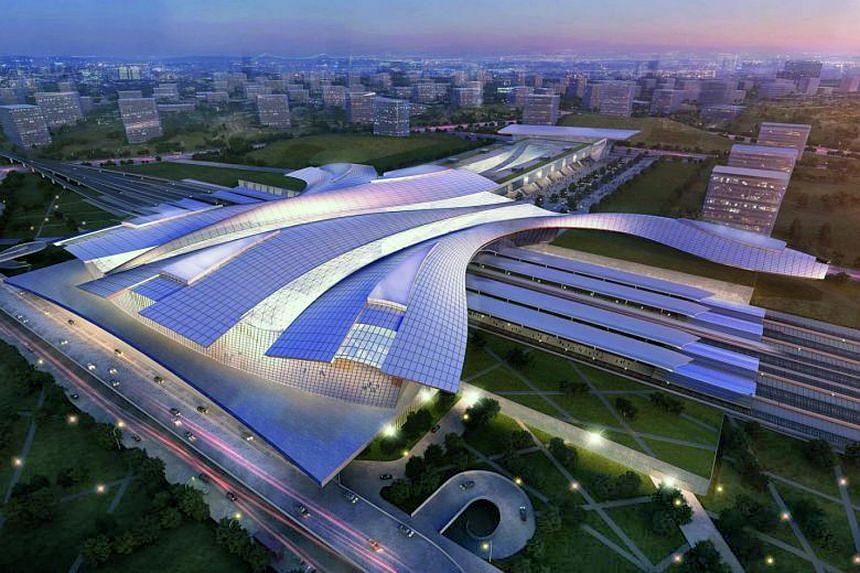 Artist's impression of the upcoming Iskandar Puteri High Speed Rail station in Johor, Malaysia.