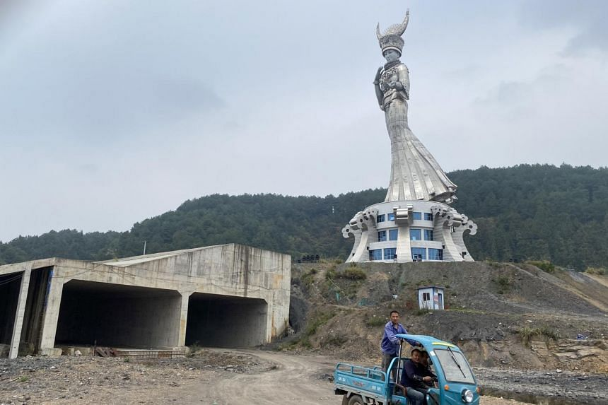 A still-unfinished plaza in front of the statue of Yang Asha, a mythical ancestress, in Guizhou, China, on Oct 30, 2020.
