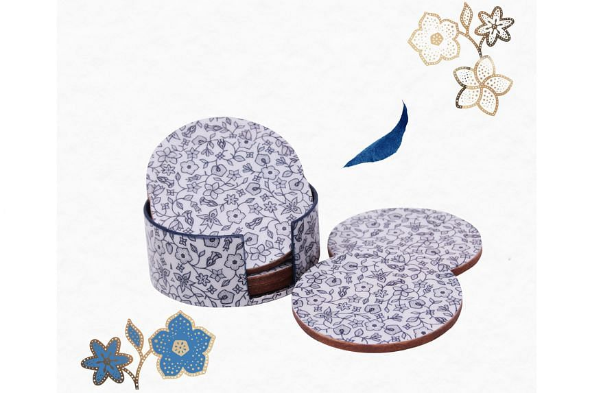 Items include a batik coaster set by home-grown label Photo Phactory ($79, above)/