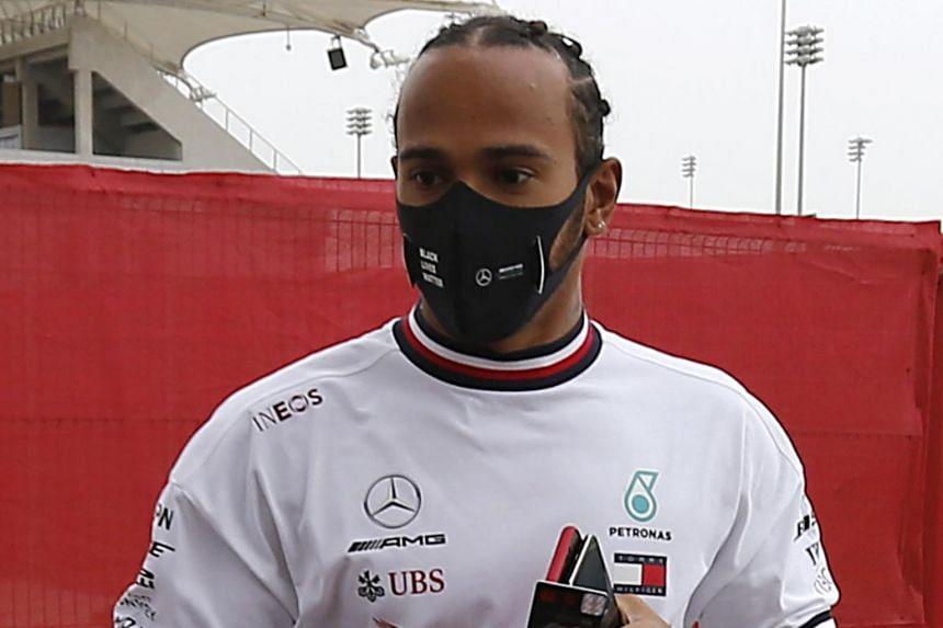 Mercedes' Lewis Hamilton qualifies for the Bahrain Grand Prix on Nov 28, 2020.