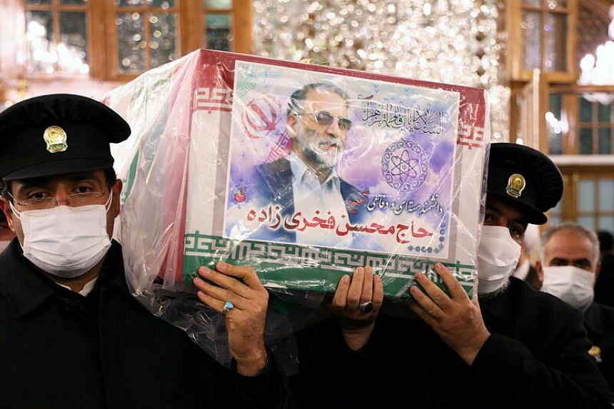 As part of the funeral procession, Dr Mohsen Fakhrizadeh's body arrived in Mashhad, Iran, on Nov 28 and was taken to Imam Reza's shrine.