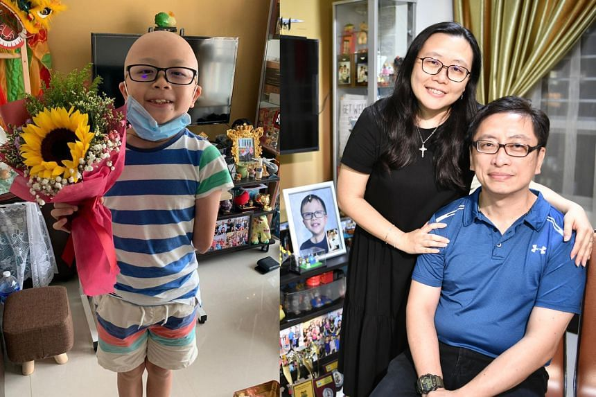 (From left) Raphael Lee in a photo from 2019 and his parents Mrs Winnie Lee and Mr William Lee.