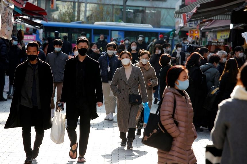 South Korea's count of new Covid-19 infections fell to 450 on Sunday after recording three consecutive 500-plus days.